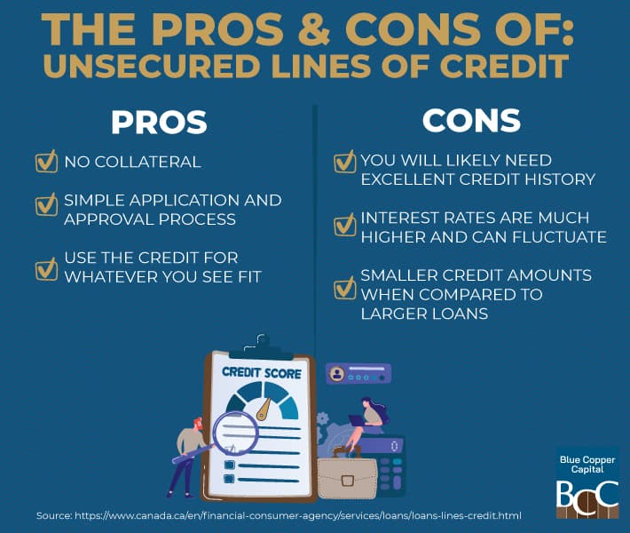 Infographic explaining the pros and cons of unsecured lines of credit