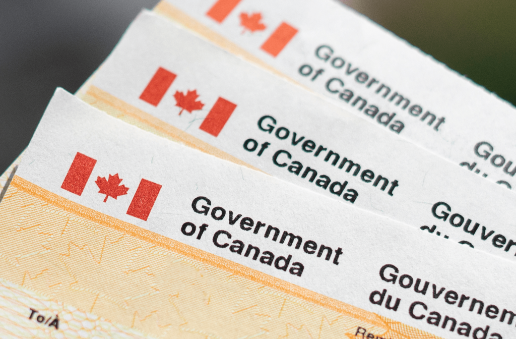 Series of cheques with Government of Canada letterhead