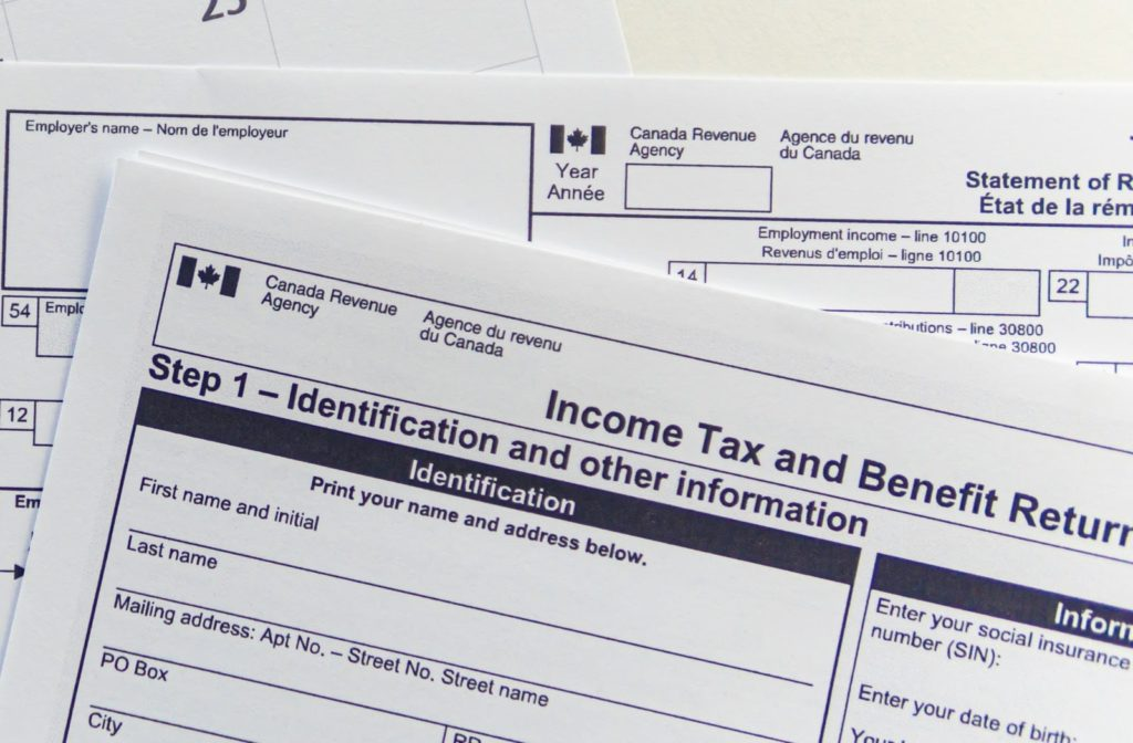 An income tax form for 2020 tax returns