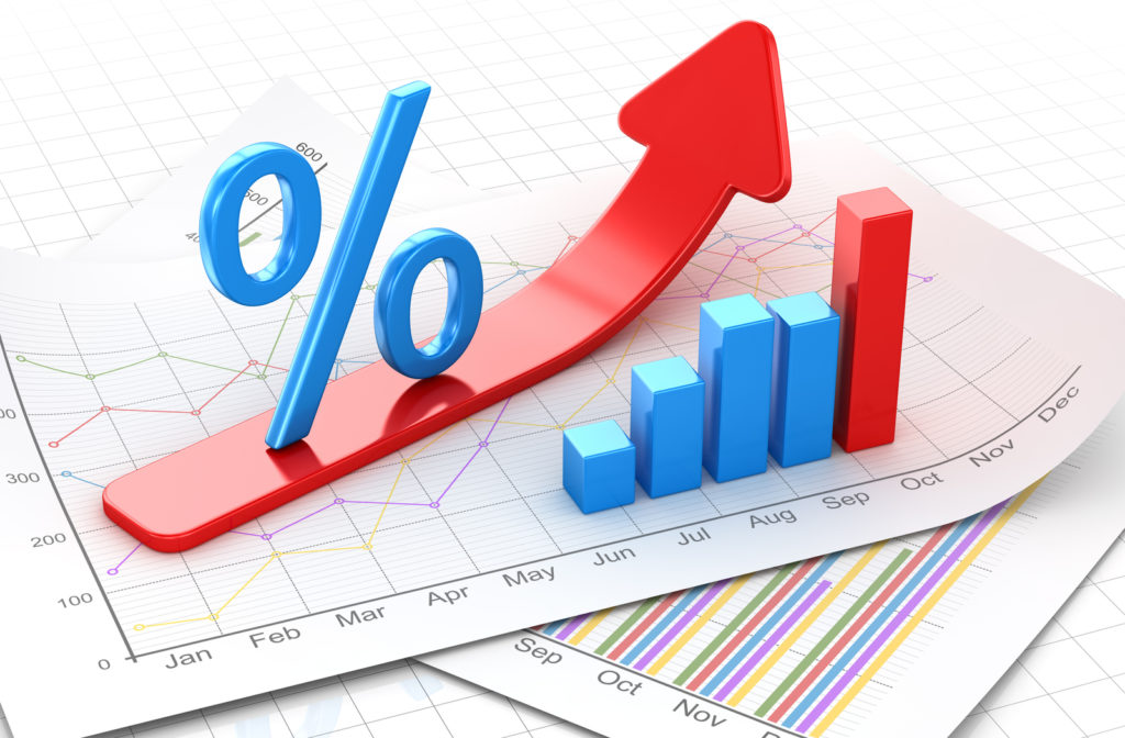 Percent symbol and business chart on financial paper with red symbol going upward to show increase in interest rate